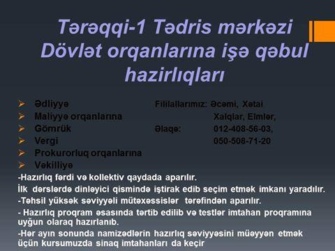 Dövlət orqanlarına işə qəbul hazırlığı - (Tərəqqi-1) - 1