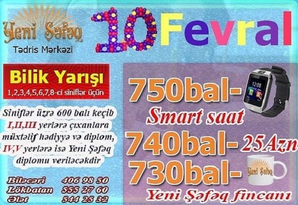 10 Fevral Növbəti Bilik yarışı keçiriləcəkdir - 1