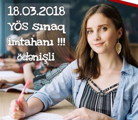 YÖS Sınaq imtahanı 18.03.2018 tarixində saat 11.00 da keçiriləcək - 1
