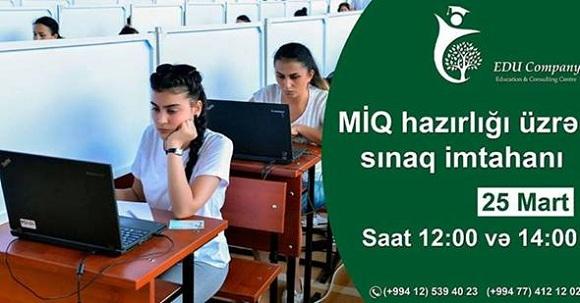 MİQ hazırlığı üzrı sınaq imtahanı - 1