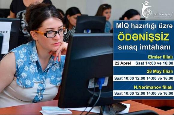 Müəllimlərin işə qəbulu üzrə ÖDƏNİŞSİZ Sınaq imtahanı - 1