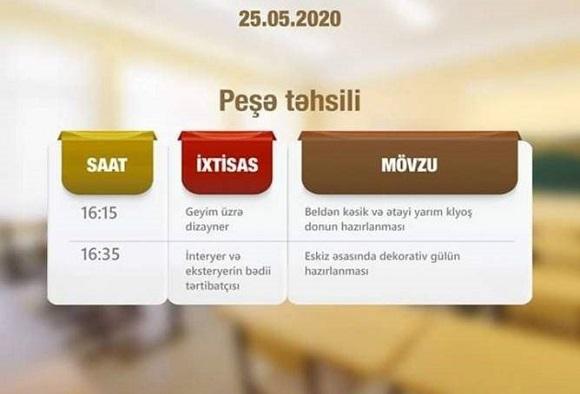 Mayın 25-nə olan peşə dərslərinin CƏDVƏLİ - 1