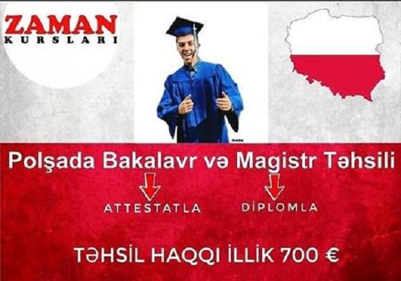 Polşada Bakalavr və Magistr təhsili - İMTAHANSIZ
