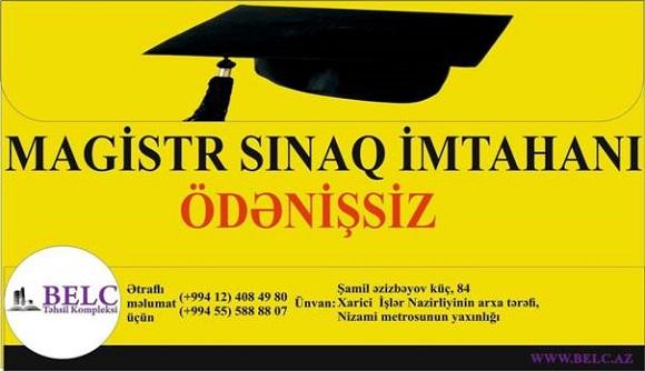 ÖDƏNİŞSİZ MAGİSTR SINAQ İMTAHANINA TƏLƏSİN - 1