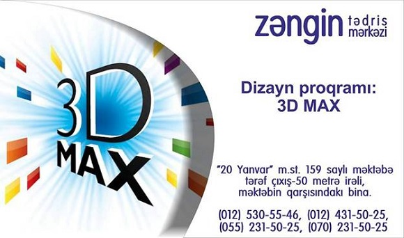 3D max Dizayn proqramını mükəmməl öyrənin