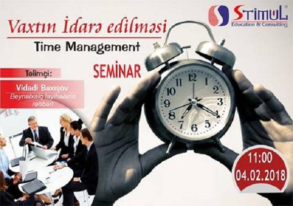 """Sizləri """"Time Management – Vaxtın idarəedilməsinin sadə üsulları"""" seminarına dəvət edirik"""